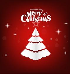 Christmas postcard with origami Christmas tree vector image
