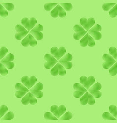 clover leaf embroidery floral background green vector image