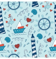 Colorful seamless sea pattern with steering wheels vector