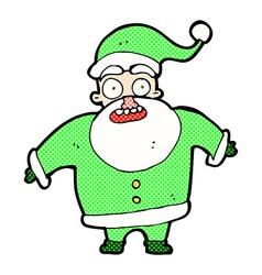 comic cartoon shocked santa claus vector image