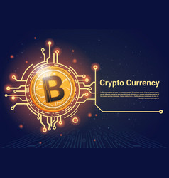 Crypto currency bitcoin banner with place for text vector