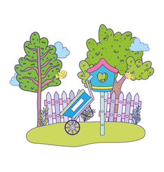 cute and little bird flying with birdhouse vector image