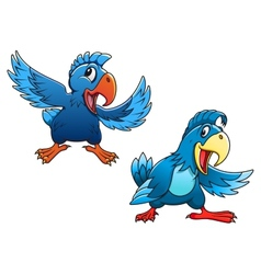 Cute blue cartoon parrot birds vector