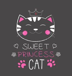 cute cat princess vector image