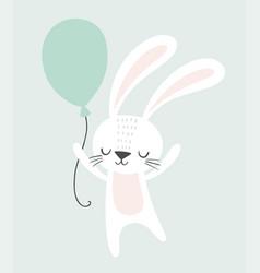 cute rabbit holding a balloon childish vector image