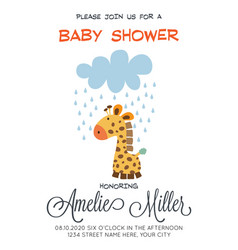 Delicate customizable baby shower card template vector