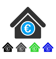 Euro financial center flat icon vector