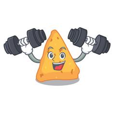 Fitness nachos character cartoon style vector