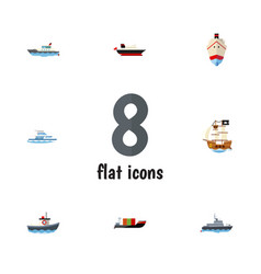 Flat icon boat set of tanker ship delivery and vector