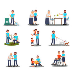 flat set of young volunteers in action vector image
