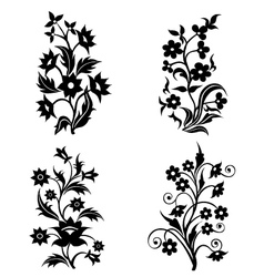 Flower Motifs silhouette set vector