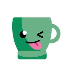 Funny coffee cup kawaii cartoon vector