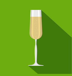 Glass of champagne icon flat style vector