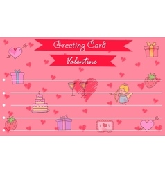Greeting card valentine on red backgrounds vector