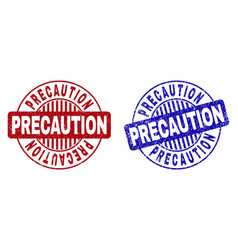 Grunge precaution textured round watermarks vector