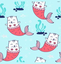 hand drawing mermaid cat seamless pattern vector image