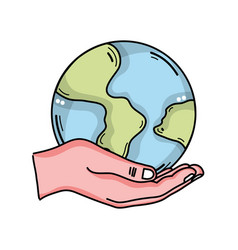 Hand with global earth planet and geography vector