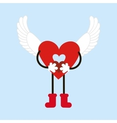 Heart with wings vector