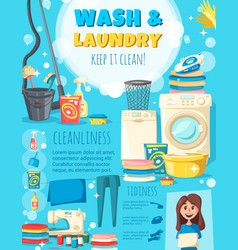 home wash and laundry service poster vector image