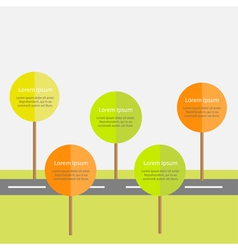Infographic with road green and orange tree sun vector