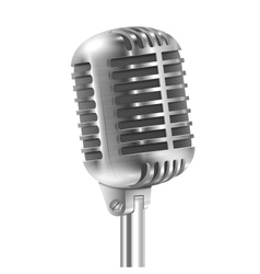 Isolated On White Metallic Retro Microphone vector image