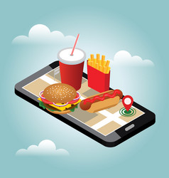 Isometric city winter fast food delivering fast vector