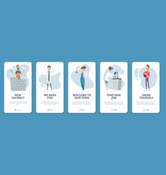 job search mobile app pages different vector image