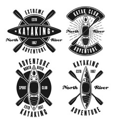 Kayaking set of four monochrome emblems vector