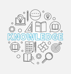 knowledge round in thin line vector image