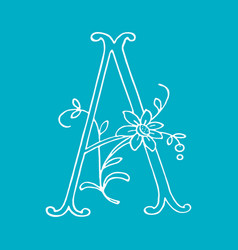 letter a with floral decoration handmade vector image
