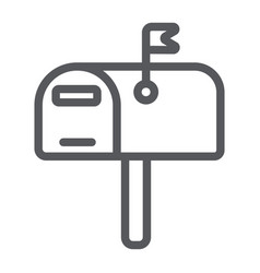 Mailbox line icon post and address pobox sign vector