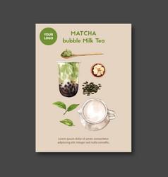Matcha bubble milk tea set poster ad flyer vector