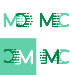 Mc letters logo with accent speed in light green vector