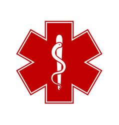 medical symbol emergency in red color vector image
