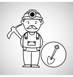 mine worker pickaxe with shovel vector image