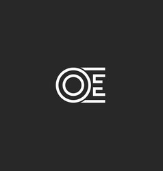 minimal style initials oe or eo logo original vector image