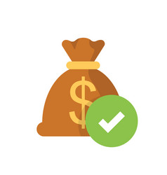 money bag with check mark flat web icon isolated vector image