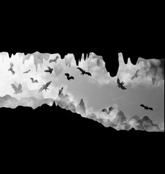 mysterious underground cave whit flying bats vector image