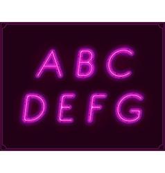 neon italic font type alphabet glowing vector image