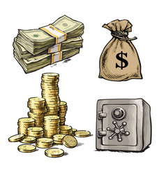 paper money stack of coins sack of dollars bank vector image