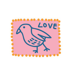 pink vintage postcard with bird and love lettering vector image