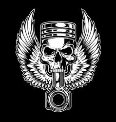 piston skull wing chopper club vector image