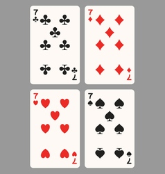 Playing cards seven vector
