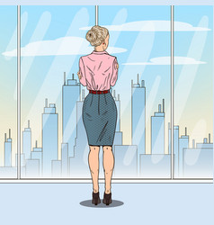 Pop art successful business woman looking at city vector