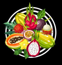Print with exotic tropical fruits of vector