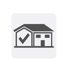 Quality control at home icon with house sign vector