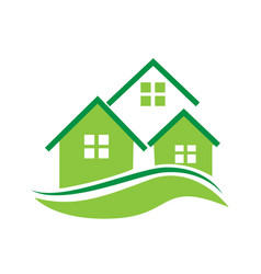 real estate green houses icon logo vector image