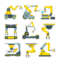 Robotic hands for machine industry vector
