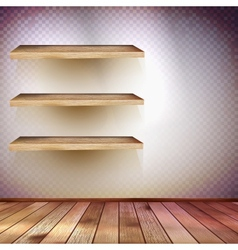 Room with the shelfs and wooden floor EPS 10 vector image