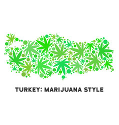 Royalty free cannabis leaves style turkey map vector